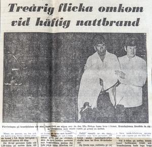 Dagbladet den 28 januari 1969. Mannen till vänster på bilden är Reine Nordvall, som firat sig ner från tredje våningen med en brandlina.