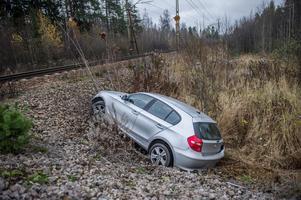 Flyktbilen kraschade efter en längre polisjakt. Bild: Niklas Hagman