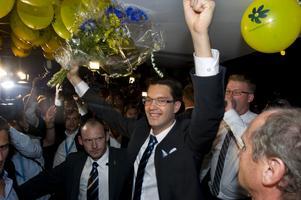Sverigedemokraternas partiledare Jimmie Åkesson  på SD:s valvaka, 2010. Foto: Fredrik Sandberg / SCANPIX