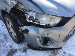 Den äldre mannens bil fick en ordentlig smäll i krocken.