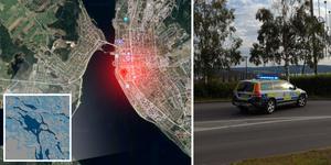 Polisen har stängt av ett körfält på grund av olyckan. Fotomontage: Google maps/Tea Ocarsson