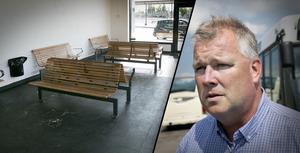 Fotomontage: Mikael Hellsten. Återkommande skadegörelse kan tvinga Dalatrafik att stänga väntsalen vid Knutpunkten.