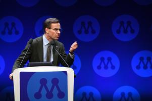Moderaternas partiledare Ulf kristersson (M) talar under partistämman i Västerås. Foto: Fredrik Sandberg / TT.