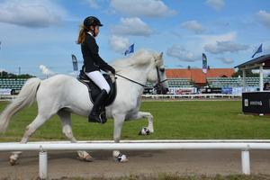 Filippa Jähder, född 2002, med hästen Baron under onsdagens uttagning.