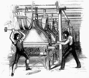 Ludditer slår sönder en vävmaskin. Illustration från 1812 av okänd konstnär.