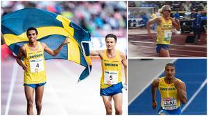 Jonas Leandersson, Ellinor Hogrell och Dennis Leal  deltog i Finnkampen i helgen. Foto: TT (till vänster och nedan), privat (överst till höger).