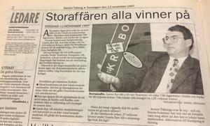 En med facit på hand inte helt lyckad rubrik på Avesta Tidnings ledarsida i november 1997.