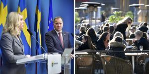 Till vänster: Socialminister Lena Hallengren och statsminister Stefan Löfven på torsdagens pressträff.  Foto Jonas Ekströmer,/TT, Janerik Henriksson/TT
