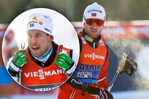 Emil Jönsson (infälld) pikade Petter Northug under loppets gång i Piteå. Bilder: TT Nyhetsbyrån.
