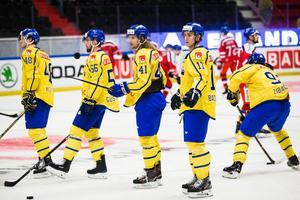 Mikael Backlund , Axel Jonsson Fjällby , Erik Gustafsson och Carl Klingberg.Foto: Foto: Kenta Jonsson / BILDBYRÅN