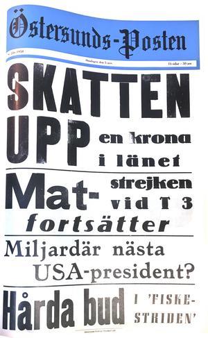Östersunds-Postens löpsedel 5 november 1958.
