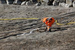 Samordnare och parkarbetare Miriam Holmberg rättar till vattenslangen som ska fylla upp Kumlasjön med vatten.