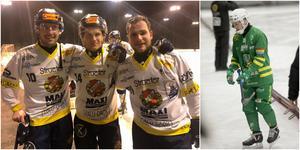Daniel Bäck, Michael Pettersson och Axel Berglund gjorde Faluns mål – och Johannes Siirtola deppade. Foto: Magnus Hägerborn