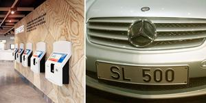 Parets Asps bil, en silvrig Mercedes Benz SL 500 cabriolet, stals i fredags utanför Max i Hemsta. Bild: Max/TT