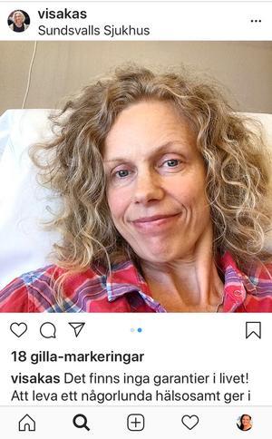Victoria valde tidigt att berätta öppet om sin sjukdom. Här är hon på Sundsvalls sjukhus och har fått beskedet som ingen vill ha.