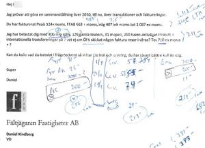 Mejl från Daniel Kindberg till Sollefteåbon. Åklagaren menar att det här är ett bevis för en etablerad brottsplan. Bild från förundersökningen
