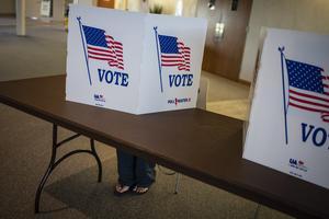 Den amerikanska valrörelsen har engagerat många i Sverige, skriver Lena Rådström Baastad. På bilden: en vallokal i Kenosha i Wisconsin.