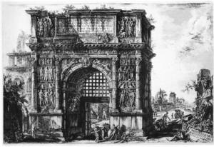 Giovanni Battista Piranesis etsning av Trajanus triumfbåge vid Benevento nordöst om Neapel,