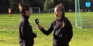 Maria Hillman intervjuas av sportens reporter Bella Franzén