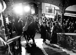 Skrönan om hästen i Knausttrappan har iscensatts för att testa om det ens gått att rida där. Här är ett sådant tillfälle.
