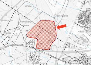 På det här cirka 15 hektar stora området vid riksväg 84 kan det om några år etableras ny verksamheter. Kartskiss: Hudiksvalls kommun