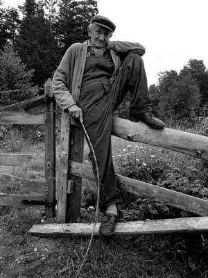 På banvallen vid sjön Björkaren i Finsta en dag i juli 1977 plåtade Roine Karlsson en lantbrukare som tittade till sina djur. Mannen är en av de som Roine Karlsson har fotat och som han efterlyser namnet på. Foto: Roine Karlsson