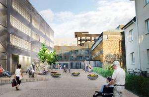 Så är det tänkt att torget mellan parkeringshuset och vårdcentralen ska se ut. Bild: Västerås stad