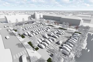 Nya torget ska få fler parkeringar men även bli mer flexibelt och bli lättare att använda vid evenemang.(Bild: Tema arkitekter)