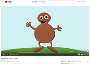 Kanske var det babblaren Babba som fick äran att vara min dotters första ord. Men varför sa hon det då just till mig? Tror hon att vi är samma person?Bild: Skärmdump från Babblarnas Youtubekanal.