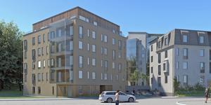 Punkthuset i fem våningar ska putsas i en brun nyans. Bild: Archus Arkitektur