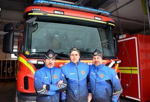 Lars Krantz, Anders Svanebo och Lars Hammarström på brandkåren i Sundsvall är med och arrangerar Brand-SM.