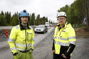 Fredrik Dahlström och Uno Blom arbetar båda på Markentreprenader som sköter bygget åt Trafikverket.