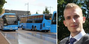 Emil Forslund, MP-politiker i Skövde om hur partiet vill prioritera  kollektivtrafiken och göra det billigare att åka.