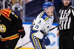 Emil Heineman gjorde karriärens första SHL-poäng i klassikerderbyt mot Brynäs, den 28 december. Foto: Daniel Eriksson/Bildbyrån.