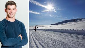Christoffer Hallgren, meteorolog på Foreca, meddelar att det verkar kunna bli en vit jul i hela Dalarna, om inte snön som väntas falla den 23 december regnar bort när vädret slår om. Sedan väntas snöfall på både julaftonen och annandagen, enligt prognosen.Foto: Erik Johansen/TT och Foreca