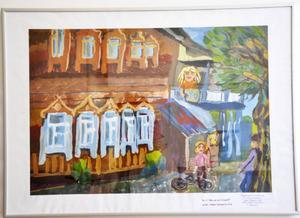 Uliana Likhonosova är utställningens yngsta deltagare. Hennes tavla
