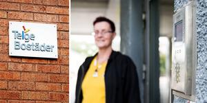 Låssystemet till ett av Telge bostäders lägenhetshus krånglar, vilket gör Annette Lundberg orolig. Bild: Monika Nilsson Lysell/Frida Westergård