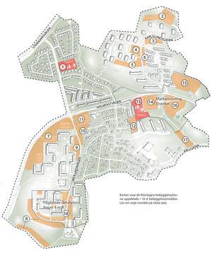 I strukturplanen för Bårsta Blombacka pekas 18 områden ut som lämpliga för förtätning. Endast en plan pågår, nummer 18 på kartan och i listan. Övriga är än så länge förslag som behöver utredas. Karta: Södertälje kommun
