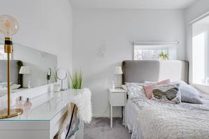 Ett av sovrummen. Foto: Svensk Fastighetsförmedling