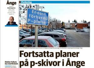 P-skivor börjar diskuteras som lösning på parkeringsbristen i Ånnge centrum.
