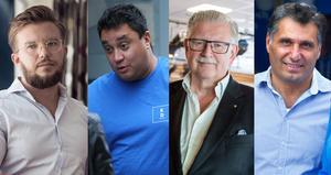 Allianspartiernas ledare i Södertälje: Alexander Rosenberg (M), David Winerdal (KD), Tage Gripenstam (C) och Metin Hawsho (L).