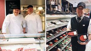 Marcus och Mikael (till vänster) är köttmästare på ICA Parken i Örebro, medan Kalle (till höger) är dito på ICA City.