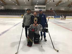 Pecka Alcén tillsammans med Anders Lindbäck, Joachim Eriksson och Jakob Markström som alla tre var med i samma draft till NHL.