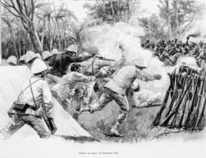 Franska och dahomeyska styrkor drabbar samman under slaget vid Dogba 1892. Illustration ur  den franske upptäcktsresanden Alexandre d'Albécas