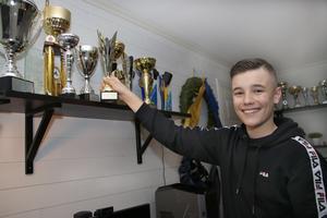 Under hösten fick Albin Karlsson från Hällabrottet stipendium för sina prestationer i gokart. Han har lyckats bra och har många pokaler sedan han började köra. På hyllan över skrivbordet har han sina favoriter.