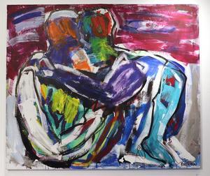 Par är ett återkommande motiv i Per Siléns utställning.