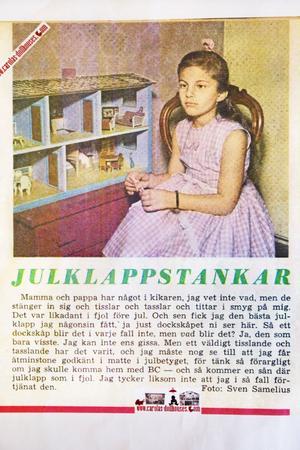 Annons från förr med en ängslig flicka. Foto: Lina Westman
