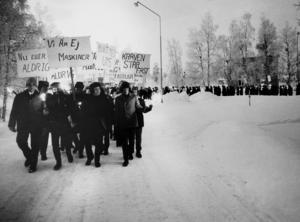 Strejkande gruvarbetare i Kiruna 1969.