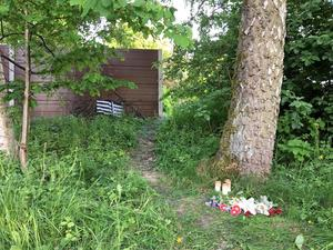 Blommor vid skogsdungen där Lena Wesströms kropp hittades.