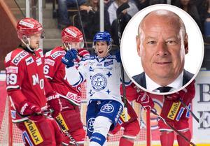 Malmös ordförande Mats Larsson (lilla bilden) ger sig in i debatten om SHL:s nya tv-avtal. Bild: Bildbyrån.